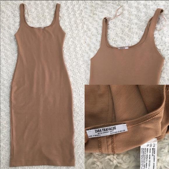8b193656 Zara trafaluc nude body con tank top midi dress. M_5b92d32bdcf85550a753ec22